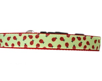 1 Inch Wide Dog Collar with Adjustable Buckle or Martingale in LadyBugs