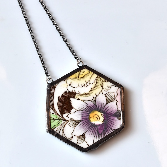 Broken China Jewelry Hexagon Necklace - Purple and Yellow Floral
