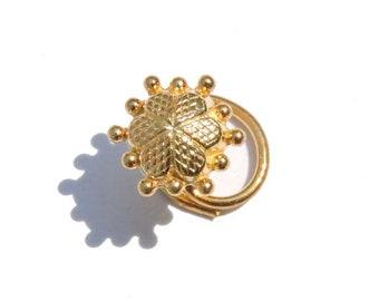 Nose Ring/Nose Stud/Nose Hoop/92.5 Sterling Silver/22 Kt Gold Polished/Decorated Nose Ring For Pierced Nose