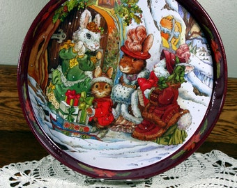 Vintag metal Christmas tray-woodland animals-signed-round retro holiday serving tray