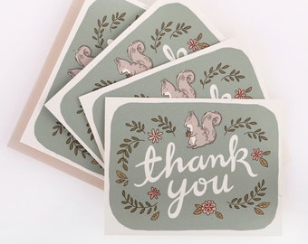 Thank you Notecard Set - Squirrel with Acorn (10 pcs)