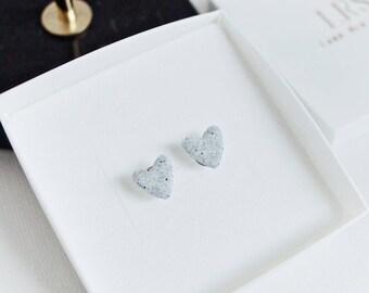 Granite Stud Earrings, Handmade Heart Studs, Polymer Clay, Grey Granite, Stone Jewellery, Minimal Earrings, Gift for her