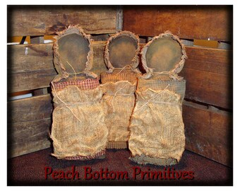 MAILED PAPER PATTERN~Primitive Simple Black Prairie Doll Bowl Fillers Sewing Pattern