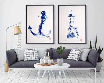 Marine lighthouse and anchor Original watercolor painting Navy wall art print Ocean bathroom decoration Set of two posters Blue modern art