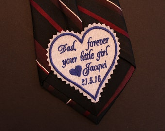 Dad forever your little girl, purple Monogrammed Tie Patches. Dad Tie Patch. Bride Embroidery. Father of the Bride Gift. HP30F31