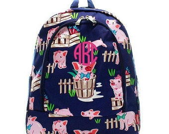 Monogrammed Backpack Personalized Pig Navy Backpack Personalized Backpack Kids Backpack Girls Backpack Boys Backpack