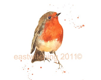 Watercolor ROBIN Print, hostess gift, 8x10 print, bird art prints