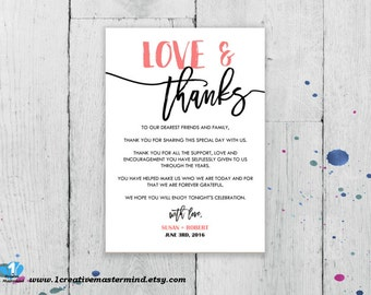 DIY Thank You Flat Card, Thank you Letter, Printable Wedding note,  special thanks, Digital Instant Download, Editable Template, #1CM87-1