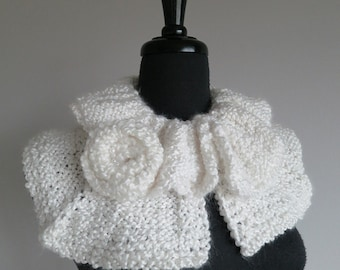 White Color Ruffled Collar Wedding  Capelet with Flower Brooch