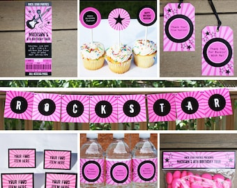 Rock Star Party, Printable Birthday Party Decorations, Rockstar Invitation, Instant Download