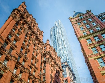 New York City Photo, NYC, Manhattan Photography, Urban Street Photography, Architectural Photo, New York Photo, Blue, Red, Skyscraper, Decor