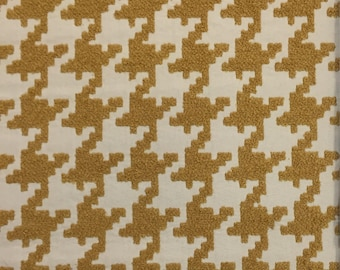 Gold Houndstooth - Terry - Upholstery Fabric by The Yard