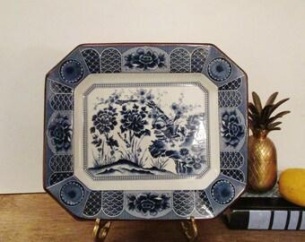 Imari Style Blue and White Tray, Blue and White Platter, Chinoiserie Decor, Hollywood Regency, Octagonal Blue Tranferware Platter