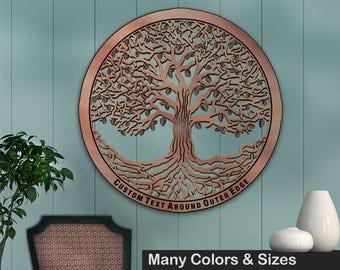 Tree of Life 34in Baltic Birch Metallic Base Wall Art w/ Optional Custom Text