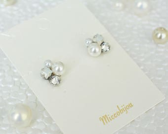 Swarovski Crystal Elements Earrings - Crystal, White Oparls, and White Pearls