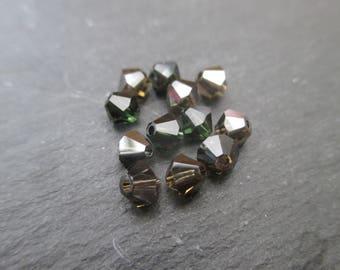 Spinning tops Crystal Swarovski 4 mm: 8 beads dark - green, red mix dark etc...