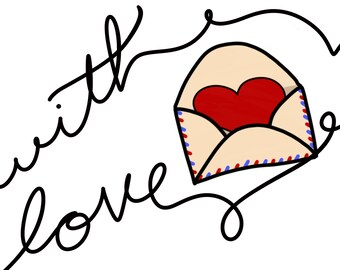 With Love - Heart in Envelope digital print