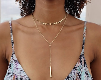 Long Lariat Necklace / Gold Lariat Necklace / Bridemaid Gift / Gold Necklace / Gold Y Necklace / Delicate Bar Necklace / Tiny Bar Necklace