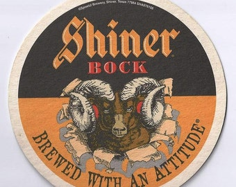 Vintage Shiner Bock Bar Coaster, Man Cave Bar, Drink Coaster, Brewed with an Attitude, Spoetzl Shiner Texas