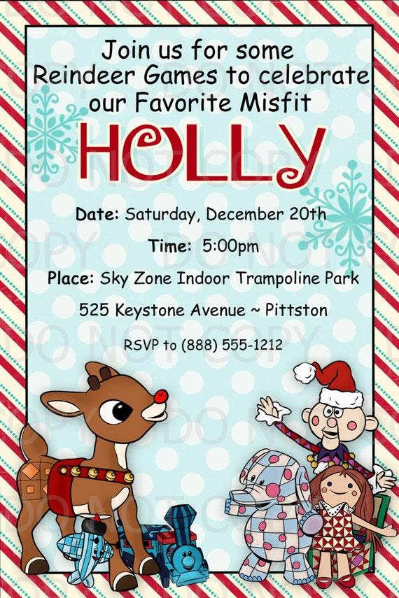 Printable DIY Christmas Party Rudolph MIsfit Toys Theme