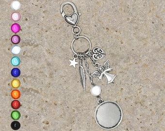Medium round cabochon 20 mm Angel keychain or bag charm