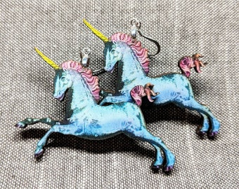 Unicorn Earrings / Handmade Earrings / Laser Cut Wood Earrings / Mystical Earrings / Magical Earrings / Fantasy Earrings / Unicorn Jewelry