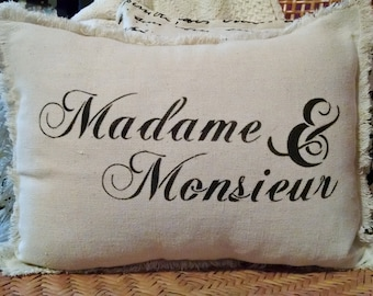 """Shabby Country French 12""""x16"""" Madame & Monsieur Recycled Cotton Canvas Pillow Cover"""