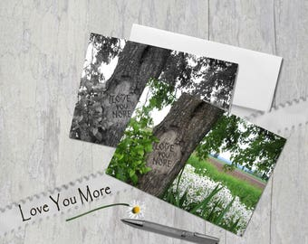 Love You More, Digital tree carving,  Field of Daisies, Card, Under 5 dollars, Anniversary, Engagement, Black and White OR Color
