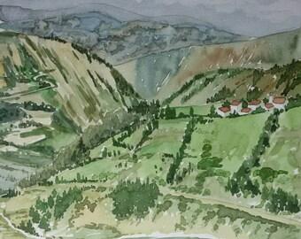 Original Watercolor Painting, Original Watercolor Artwork, Watercolor Landscape, Beautiful Hills Watercolor, Perfect Gift