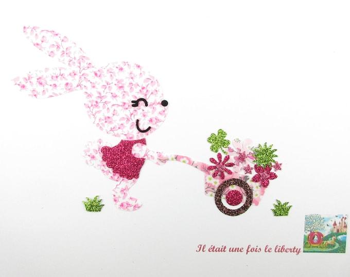 Applied fusing rabbit wheelbarrow flowers liberty fabric Mason rose, Mitsi valeria applique iron on patch badge iron on bunny