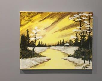 Bob Ross style - winter sunrise