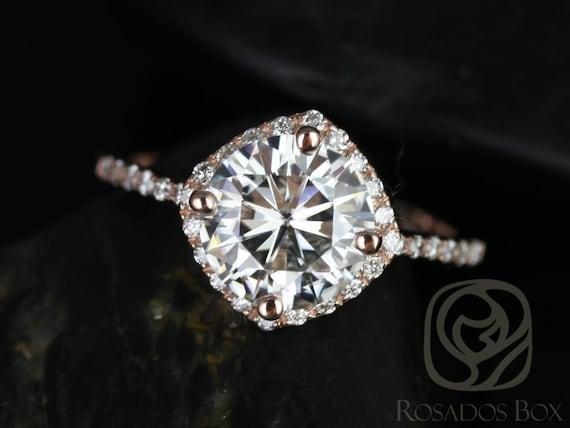 Rosados Box Kitana 8mm Size 14kt Rose Gold Thin F1- Moissanite and Diamonds Cushion Halo Engagement Ring