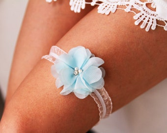Bridal Garter Wedding Garter Keepsake Garter - Baby Blue Light Blue Garter - Something Blue Garter