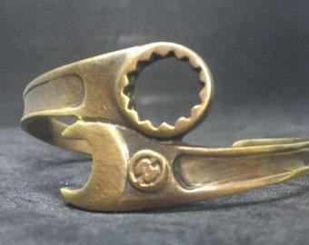 Spanner bracelet-Wrench bracelet-Oxidized brass bracelet-biker bracelet-Motorcycle jewelry-motorcycle bracelet-bracelet for father-Plumber