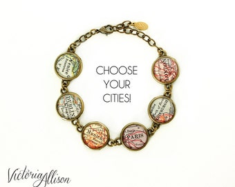 Map Bracelet, Custom Cities, City Bracelet, Personalized Jewelry, Birthday Gift, Travel Gift, Paper Anniversary, Long Distance, Gift for Her
