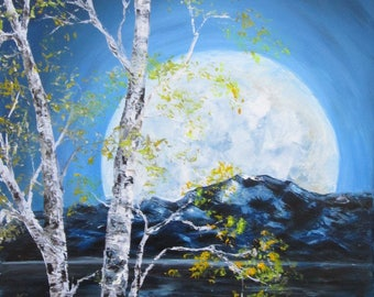 Autumn night, original oil painting, landscape painting, landscape oil painting on canvas, nature oil landscape painting