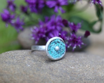 Blue Pond Sterling and Copper Ring