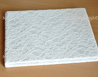 Guest Book lace Bridal Wedding Guest book with French lace White or Ivory Landscape 23cm x 17cm (9'' x 7'')