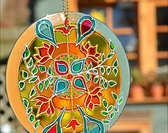 Stained Glass Window Hanging Roundel / William Morris Abstract Art Pattern in Soft Pastel Colours / Hand Painted Glass Garden Sun Catcher