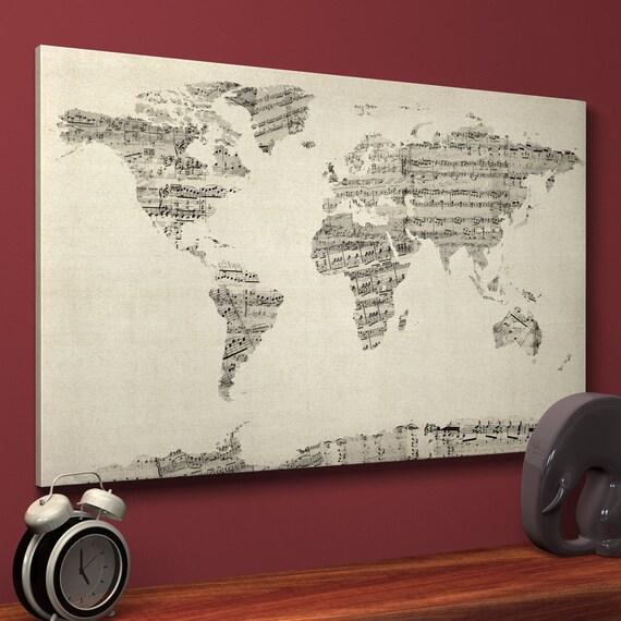 World map sheet music canvas sheet music world map box canvas gumiabroncs Gallery