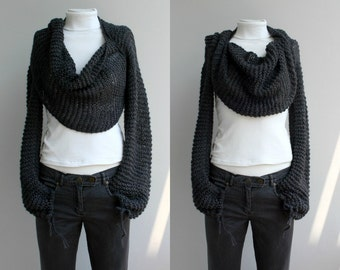 Hand Knitted Long Sleeves Charcoal Wrap Bolero Shrug Over Size With Scarf / Knitted Accessories / for Women for her