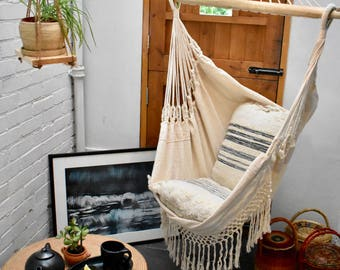 Naturally Luxurious White Hammock Chair 100% Cotton