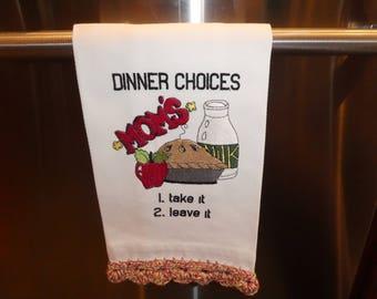 Kitchen towels, humor, kitchen decor, machine embroidery, crochet edging, housewarming gift, kitchen design