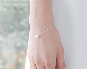 White Freshwater Pearl Silver Bracelet - Real Pearl Bracelet - Single Pearl Bracelet - Silver Pearl Bracelet - Silver Bracelet Chain - Gift