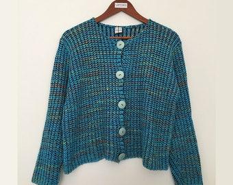 Vintage chunky cardigan / chunky cardigan sweater /crew neck cardigan / big button cardigan /blue cardigan / vintage sweater /made in france