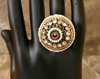 Indian Pakistani Bollywood 22K Gold Plated Green Pink Flower Stone Pearl Polki Adjustable Finger Ring 019