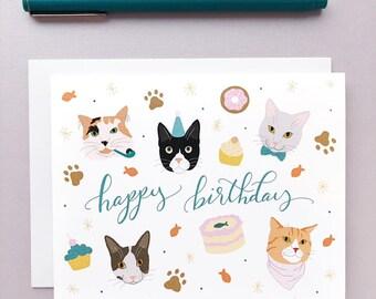 Happy Birthday Cats Card. Cat Birthday Party Card. Card For Cat Lovers. Pet Birthday. Cat Lover Gift.
