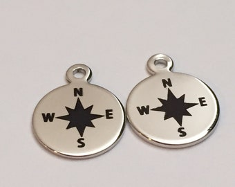 2 pc silver compass charm, compass charm, jewelry supplies B35-S1