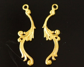 FINAL SALE 10 charms 24k gold plated on sterling silver , 38x10 mm