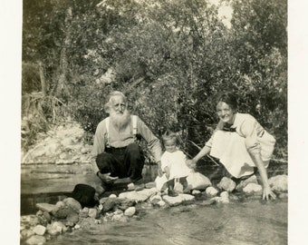 vintage photo 1913 Little Girl Mom Father Time Wading in Mountain Stream California